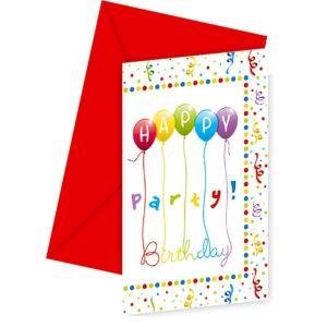 6 cartes d'invitation Anniversaire avec enveloppes