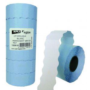Agipa 100915 - Lot de 6 rouleaux de 1500 étiquettes blanches pour pince, format 26x12 mm