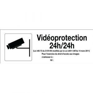 Novap Panneau Vidéoprotection 24h/24h avec pictogramme - Rigide 330x120mm - 4140889