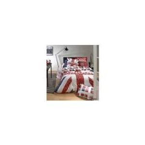 Linnea London Union Jack - Housse de couette et 2 taies 100% coton 57 fils (240 x 260 cm)