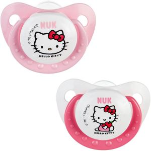 Nuk 710301 - 2 sucettes physiologiques Hello Kitty en silicone T1