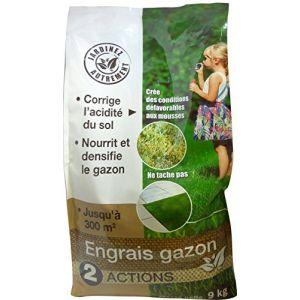 NONA Engrais gazon 2 en 1 - 9 kg - 2 en 1 - 9 kg - Formulation en mini-granulés évite la poussière et assure un délitement efficace