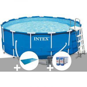 Intex Kit piscine tubulaire Metal Frame ronde 4,57 x 1,22 m + Bâche à bulles + 6 cartouches de filtration