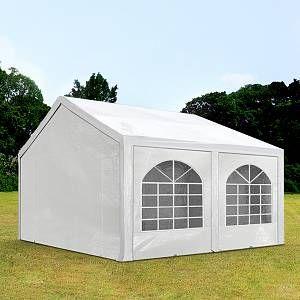 Intent24 Tente Barnum de Réception 4x4 m PE Bâches Amovibles 200-240 g/m² BLANC / Jardin Tonnelle Pavillon Chapiteau.FR