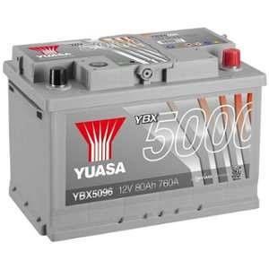 Yuasa Silver High Performance Batterie Auto 12V 80Ah 760A YBX5096 12V 80Ah 760A Silver High Performance Battery 278 x 175 x 190 mm + D