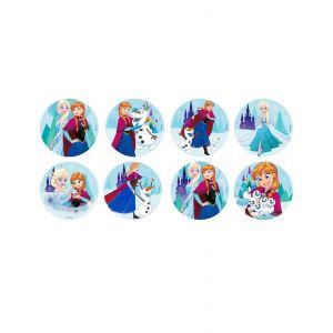 16 mini disques en sucre La Reine des Neiges 3,4 cm