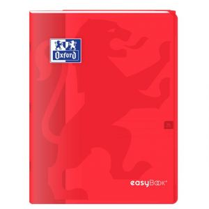 Oxford 400100049 EasyBook Cahier agrafé 24 x 32 cm 96 pages 90 g grands carreaux seyès Rouge