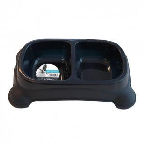 M pets Gamelle en plastique double PLASTIC BOWL - Pour chien - 2x650ml - Coloris divers - Gamelle double - Système antidérapant