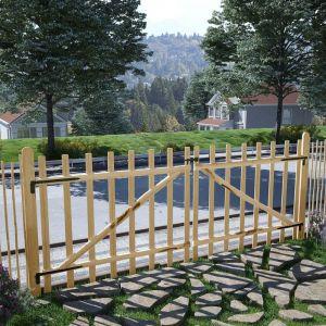 VidaXL Portillon double pour clôture Bois de noisetier 300 x 120 cm