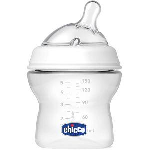 Chicco Biberon Natural Feeling en polypropylène 150 ml avec tétine en silicone bout incliné flux normal (0 mois +)