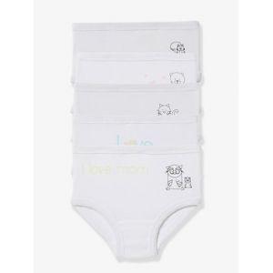 Vertbaudet Lot de 5 culottes bébé pur coton spécial couches blanc imprimé