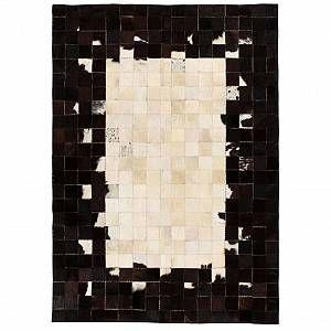 VidaXL Tapis Cuir véritable de vache 160 x 230 cm Carré Noir/Blanc