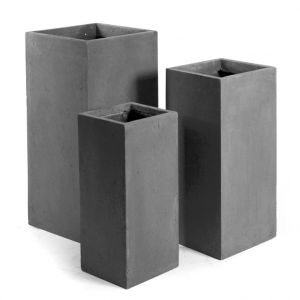 Mcollection Pot carré haut GENEVE 33x33xH.70 Gris