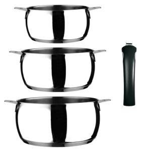 Guy Degrenne 3 casseroles NewCook Clip en inox avec 1 manche amovible 18 à 24 cm