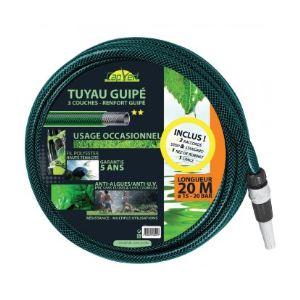 Cap Vert Tuyau guipé 3 couches équipé Longueur 20 m Diamètre 15 mm