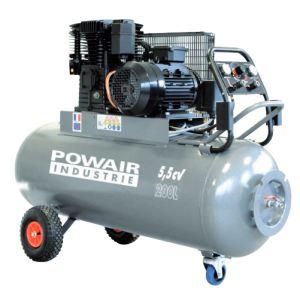 Powair Industrie TRE2220055TG - Compresseur mobile 200 litres 5.5 CV triphasé bi-étage