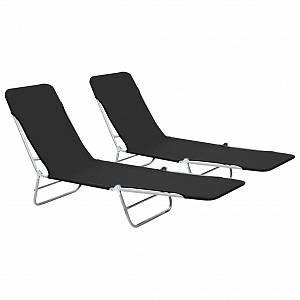 VidaXL Chaise longue pliable 2 pcs Noir