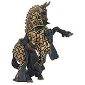 Papo Figurine Cheval du maître des armes cimier taureau