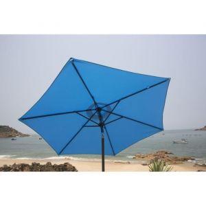 Finlandek Parasol droit inclinable 2,5m - Bleu - Mât en aluminium et 6 baleines en acier - Toile en polyester 160g/m² - Coloris : bleu.