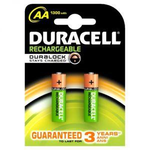 Duracell Pack de 2 piles rechargeables AA Duralock