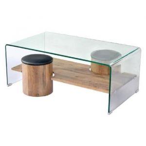 Declikdeco LEA Table basse style contemporain décor chêne, plateau en verre  trempé + 2 poufs 74bdb511ec8c