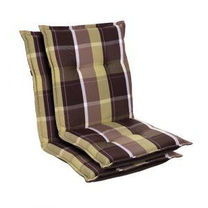 Blumfeldt Coussin de chaise de jardin Prato -103 x 52 x8 cm -2 pièces -Carreaux Verts
