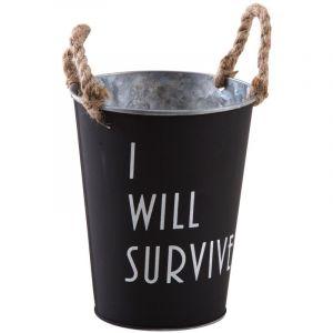 Aubry Gaspard Cache-pot en métal laqué noir mat I Will Survive