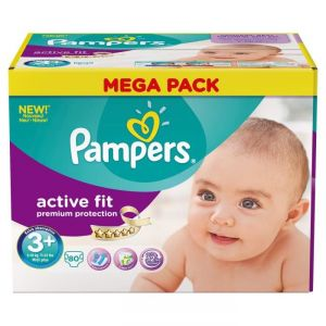 Pampers Active Fit taille 3+ midi+ 5-10 kg - Mega pack 80 couches