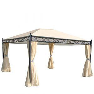 Mendler Pergola Cadiz, pavillon de Jardin, Cadre Stable à 7cm avec paroi et moustiquaire crème 4x3m