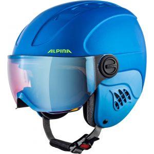 Alpina Carat LE Visor HM Casque de Ski enfants Bleu 54-58 cm