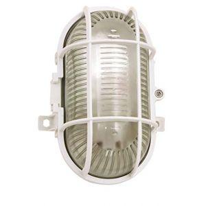 Velamp Applique Exterieure - TURTLE: hublot ovale en verre et plastique. E27 max 60W - Blanc