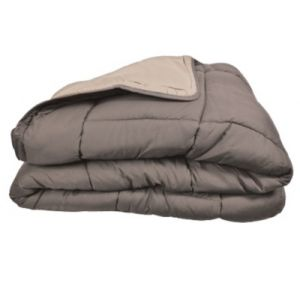 Poyet motte Couette bicolore Polyester Taupe/Lin 220 x 240 cm - Gamme CALGARY