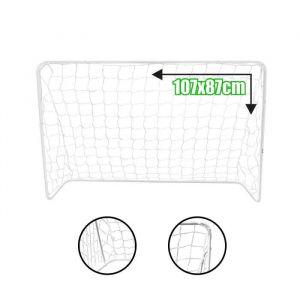 BUMBER But de Foot Standard Taille XS Blanc - Cage de football en acier - Dimensions : 107 x 87 x 38 cm - Poids : 1,7 kg - Crochets de fixation