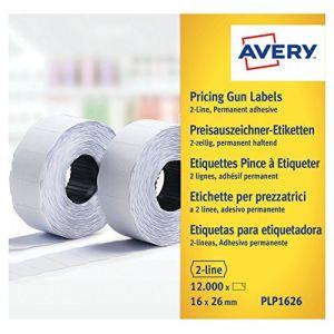 Avery-Zweckform PLP1626 - Etiquettes 2 lignes, blanches permanentes - boite de 10 rouleaux de 1200 étiquettes