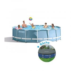 Intex Pack Piscine tubulaire ronde Prism Frame 4,57 x 0,84 m + Bâche