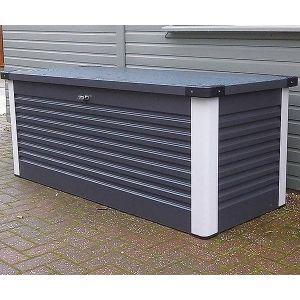 Trimetals Coffre de Rangement Design en Métal 1.46 mètres carrés Patio Box - coloris Gris Anthracite