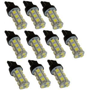 Aerzetix 10x ampoule 12V T20 7440 W21W W3x16D 18LED SMD blanc effet xénon