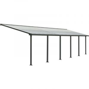 Palram Pergola adossée Olympia 29,3 m² - Aluminium et polycarbonate - Gris