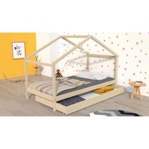 KOALA Lit cabane enfant avec tiroir Bois pin m if Naturel Sommier inlcus 90x190cm