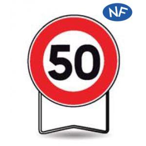 Taliaplast 524413 - Panneau signalisation prescription b14 interdit +50km/h t1 650mm