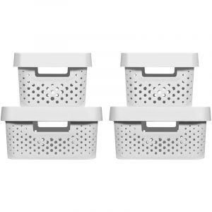 Curver Boîtes de rangement 4 pcs avec couvercle 4,5L+11L Blanc