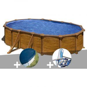 Gre Kit piscine acier aspect bois Mauritius ovale 5,27 x 3,27 x 1,32 m + Bâche hiver + Kit d'entretien