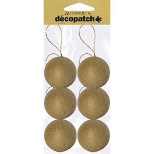 decopatch NO006O - Sachet de 6 boules avec cordon doré 6cm, en papier mâché