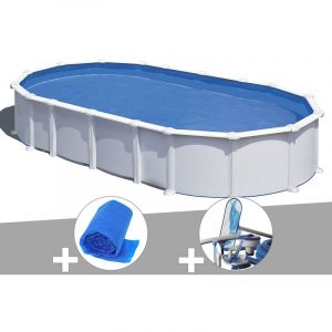 Gre Kit piscine acier blanc Atlantis ovale 8,15 x 4,90 x 1,32 m + Bâche à bulles + Kit d'entretien