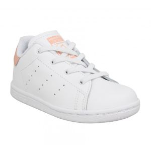 Adidas Stan Smith Cursive Logo cuir Enfant-26-Blanc Rose