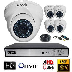 Jod-1 Kit vidéosurveillance AHD 5 dômes en 1,3MP avec son disque dur de 4To
