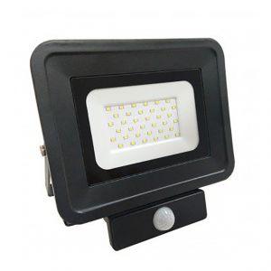Optonica Projecteur LED 50W à détecteur fin équivalent 250W Noir | Noir - Blanc Neutre (4500K)