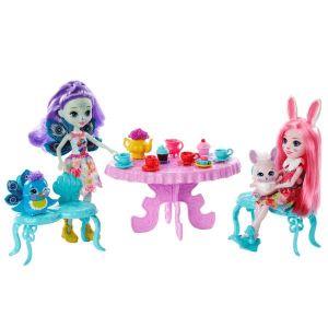 Mattel Enchantimals Coffret le goûter enchanté, mini-poupées Patter Paon et Bree Lapin et leurs figurines animales, accessoires inclus, jouet enfant, GLD41