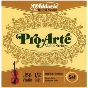 D'Addario Bowed Jeu de cordes pour violon Pro-Arte, manche 1/2, tension Medium