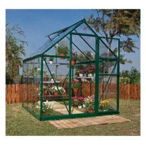 Palram Serre de jardin en polycarbonate Harmony 3,44 m², Couleur Vert, Ancrage au sol Non - longueur : 1m86
